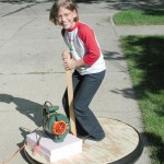 kid on leafblower hovercraft