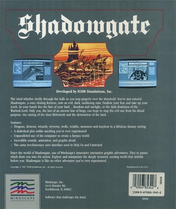Shadowgate Box back Amiga