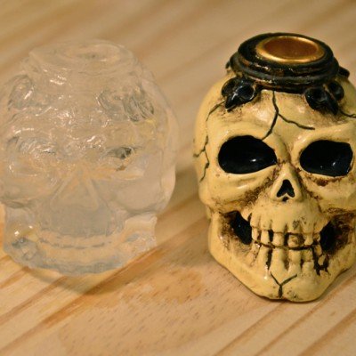 Skull ice cube and original