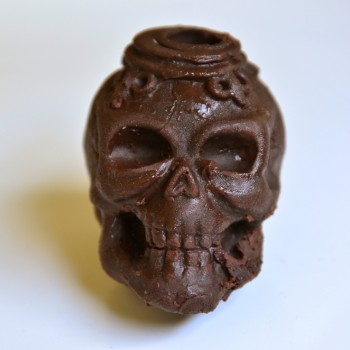 Chocolate skull molded from the silicone mold